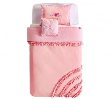 Rosa narzuta z poduszkami 170 x 230 cm